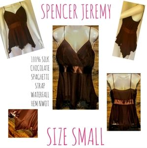 Spencer Jeremy Top Size S Pure Silk Waterfall NWOT